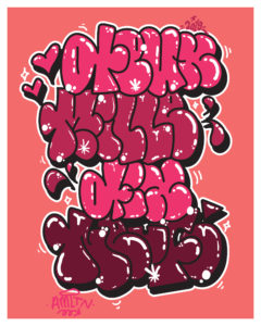 Graffiti throw up flop lettres roses