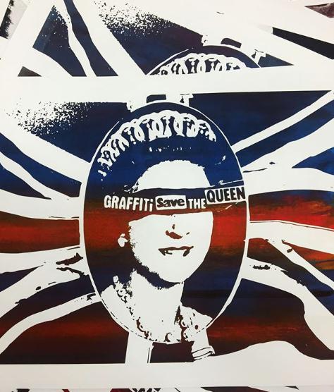 Graffiti Save The Queen Serigraphie Silkscreen